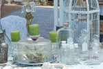 Vintage glass bottles & cake stand at Alameda Point Antiques Faire