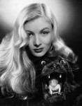 Veronica Lake with animal skin